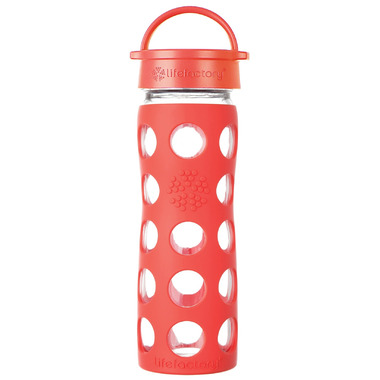Lifefactory Glass Bottle with Classic Cap & Poppy Silicone Sleeve