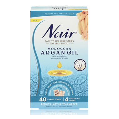 Nair Easy to Use Wax Strips with Moroccan Argan Oil