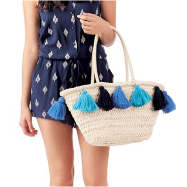 Mud Pie Blue Tassel Straw Tote Bag
