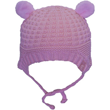 Calikids 100% Cotton Knit Hat with Ears Blushing Rose
