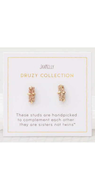Jax Kelly Silver-Plated Druzy Stud Earrings with Gold Plating