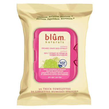 Blum Naturals Daily Cleansing & Makeup Removing Towelettes Pro Age