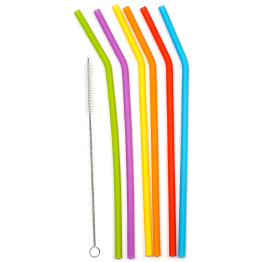 RSVP Silicone 10in Silicone Straw Set With Brush