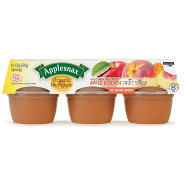 Applesnax Organic Apple and Peach Applesuace Cups