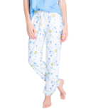 PJ Salvage Smiley Tie Dye Banded Pants Blue