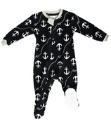 ZippyJamz Footed Organic Cotton Sleeper Ahoy Baby Matey