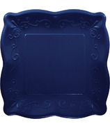 Elise Embossed Square Banquet Plate Navy
