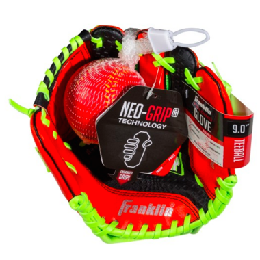"Franklin Sports 9"" Red Neo Grip Glove with Ball"