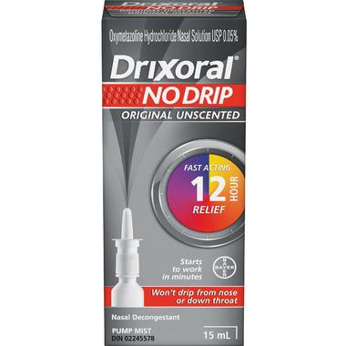 Drixoral NO DRIP Original Unscented Nasal Decongestant