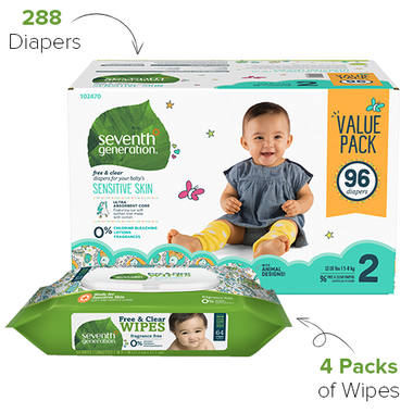 Seventh Generation Size 2 Diapers & Wipes Bundle