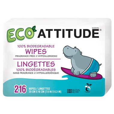 ATTITUDE Eco-Baby 100% Biodegradable Wipes Refill