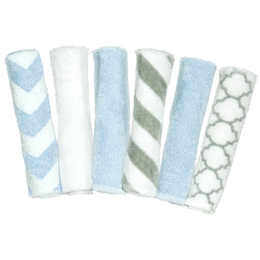 Kushies Wash Cloths Blue & Grey
