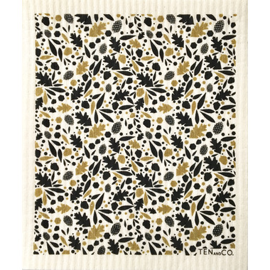 Ten & Co. Swedish Sponge Cloth Oaks + Acorns Black + Gold