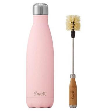 S\'well Pink Topaz Stainless Steel Water Bottle + Bottle Brush Bundle