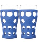 Lifefactory Beverage Glasses with Cobalt Silicone Sleeves