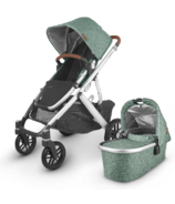 UPPAbaby VISTA V2 Stroller Emmett Green Melange Silver Saddle Leather
