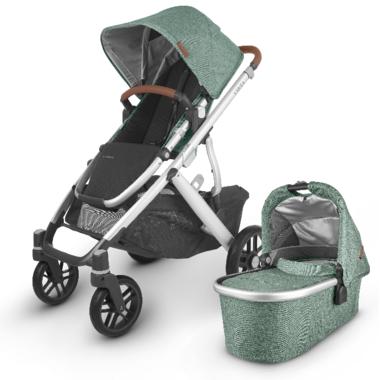 UPPAbaby VISTA V2 Stroller Emmett Green Melange Silver Saddle Leather