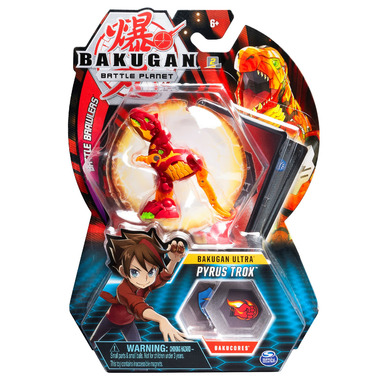 Bakugan Ultra Pyrus Trox Collectible Action Figure and Trading Card