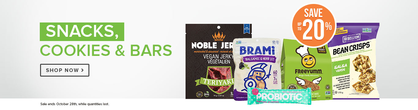 Save up to 20% off Snacks, Cookies, Bars
