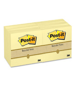 3M Post-it 100% Recycled Original Note Pads
