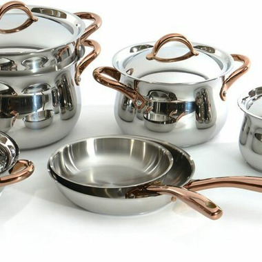 BergHOFF 11 Piece Ouro Cookware Set With Rose Gold Handles