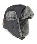 Calikids Water Repellant Nylon Shell & Faux Fur Hat Charcoal