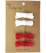 Babywisp Velvet Hand Tied Bows Red & White