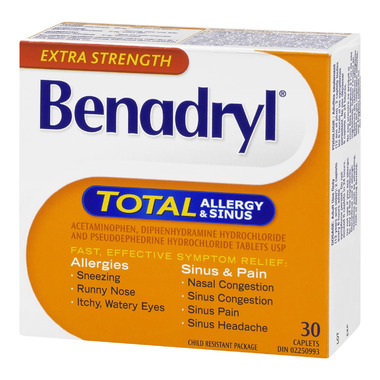 Buy Benadryl Total Allergy Amp Sinus Caplets 30 Caplets