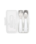 OXO Tot On the Go Fork & Spoon in Travel Case White