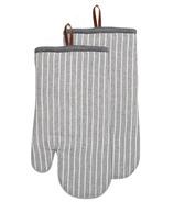 Harman Oven Mitts Chambray Stripe Charcoal
