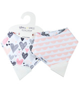 Glitter & Spice Double-sided Organic Chew Bib Geo Hearts Scallop Trim