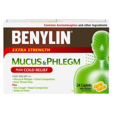 Benylin Mucus & Phlegm Plus Cold Relief Extra Strength Caplets