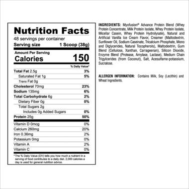 Gaspari Nutrition Myofusion Protein Powder Vanilla Ice Cream