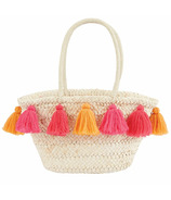 Mud Pie Pink & Orange Tassel Straw Tote Bag