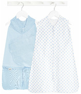 HALO Organic Gift Set Swaddle And Sleepsack Chambray Solid And Dot