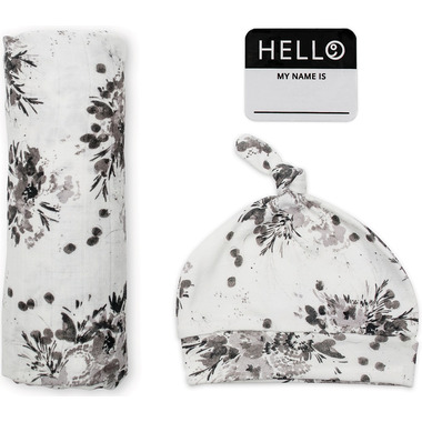 Lulujo Baby Hello World Newborn Hat and Swaddle Blanket Set Black Floral