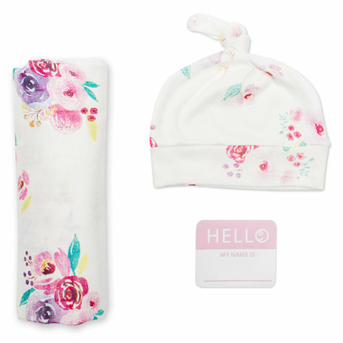 Lulujo Hello World Blanket & Knotted Hat Posies