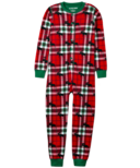 Hatley Little Blue House Kid's Union Suit Holiday Moose on Plaid
