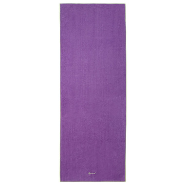 Gaiam Stay-Put Yoga Mat Towel Purple with Green Trim