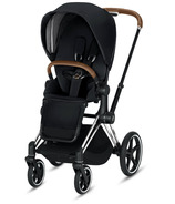 Cybex Priam Chrome Brown Frame with Premium Black Seat Pack