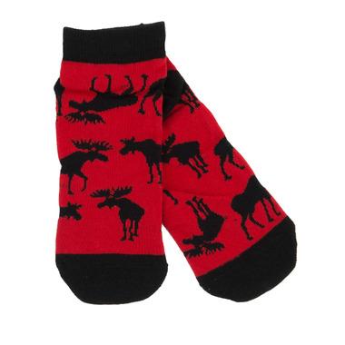 Little Blue House Women\'s Ankle Socks Moose On Red