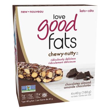 Love Good Fats Chocolatey Almond Chewy Nutty Bars