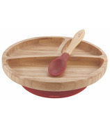 Avanchy Toddler Bamboo Stay Put Suction Divided Plate & Spoon Magenta