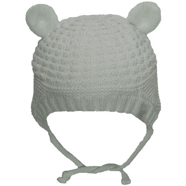 Calikids 100% Cotton Knit Hat with Ears White Allyssum