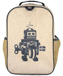 SoYoung Raw Linen Grey Robot Grade School Backpack