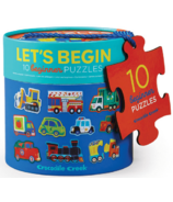 Crocodile Creek Let's Begin 10 Beginner 2-Piece Puzzles Vehicles
