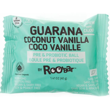Roobar Guarana Coconut Vanilla Roobiotic Pre & Probiotic Ball