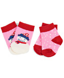 Hatley Little Blue House Baby Socks Pink Cheerful Snowman
