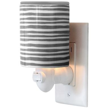 Happy Wax Outlet Plug In Warmer Gray Stripe Print