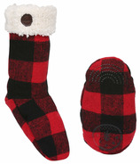 Kombi The Sherpa Sock Children Red Buffalo Plaid